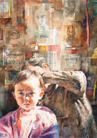 Stephen Zhang Haircut Transparent watercolor on paper 24 x 40(Artists Showplace Gallery)