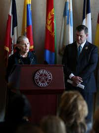 Dallas mayor Mike Rawlings listens as Mary Jalonick announces that about $10 million has been raised to benefit the officers and families affected by the July 7 police shooting in downtown Dallas. The Foundation helped the Assist The Officer Foundation identify how to effectively distribute the funds entrusted to the two organizations.<br>((Andy Jacobsohn/Staff Photographer))