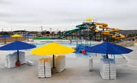 The outdoor pool area at the Apex Centre, the $36 million aquatics and fitness center at Gabe Nesbitt Community Park in McKinney.  (Vernon Bryant/The Dallas Morning News)Staff Photographer