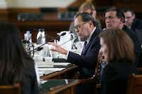 <p>Sen. Jose Rodriguez, D-El Paso, asked questions during testimony on the bill.</p>((Kelly West/Austin American-Statesman))