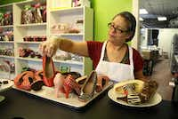 "<p>Chocolatier <span style=""font-size: 1em; background-color: transparent;"">Andrea Pedraza makes chocolate high heels at her Oak Cliff shop, CocoAndre.</span></p>"