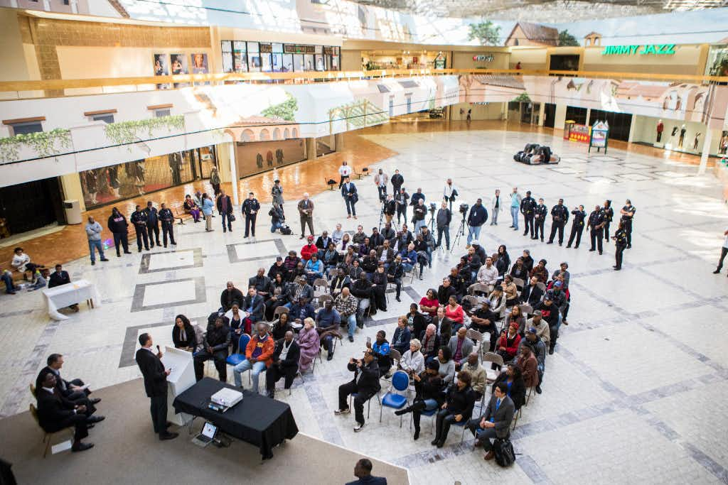 Community members gather to see the future of the mall formally known as Redbird Mall on Jan. 7, 2017, at Southwest Center Mall in Dallas. Developers plan to update the architecture of the mall while saving the atrium and arches outside of the closing Macy's department store. (Andrew Buckley/Special Contributor)Special Contributor