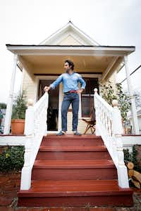 Mickey Ashmore outside Sabah House Dallas on Routh Street. His hospitable new shop sells custom Turkish leather slippers inside a historic shotgun house in the State-Thomas district. ((Allison V. Smith/Special Contributor))