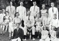 Like the Kennedys, the Bushes rose to power in the middle of the 20th century with a patriarch's fortune behind them and an abiding thirst for politics. Prescott Bush (middle row, center) a Republican senator from Connecticut, is shown with his extended family, including wife Dorothy (to his right); son George H.W. Bush (top row, far left) and grandson George W. Bush, (middle row, far left).