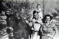 1950, from left: George W. Bush, George H. W. Bush, Robin Bush and Barbara Bush at the rodeo grounds in Midland, Texas. Robin Bush died of leukemia at the age of 3, which President Bush called one of the greatest tragedies of his life.