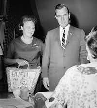 1964: George Bush and his wife, Barbara, cast their votes in Houston for the U.S. Senate primary race in Texas, his entry into politics. Bush was seeking the Republican primary victory over opponent Jack Cox, and went on to lose to Democratic Sen. Ralph Yarborough in the November general election.(Ed Koleovsky)