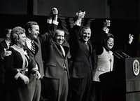 1970: President Richard M. Nixon speaks at a rally at Dallas Market Hall supporting George H.W. Bush (second from left) for U. S. Senate and Paul Eggers (second from right) for Texas governor. Barbara Bush is at far left.(The Dallas Morning News/Gary Barnett)