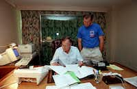 1992: George W. Bush watches at the Houstonian Hotel as his father, President George H. W. Bush, works on his speech to be delivered to the Republican National Convention in Houston. The elder Bush was running for re-election.(David Woo/Staff Photographer)