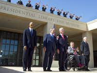 2013: George H.W. Bush was among those in a rare photo of five living U.S. presidents at the George W. Bush Presidential Center dedication in University Park. From left are Barack Obama, George W. Bush, Bill Clinton, George H.W. Bush and Jimmy Carter.(Tom Fox/Staff Photographer)