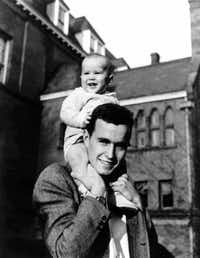 1947: Two future presidents: George H.W. Bush and son George W. Bush, when the younger Bush — born in New Haven, Conn. — was about 9 months old.(George Bush Presidential Library)