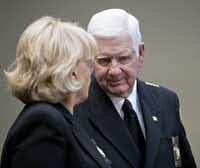 Rockwall County Sheriff Harold Eavenson talks with Sheriff Carolyn Welsh of  Chester County, PA, before a session with President Donald Trump. (Andrew Harrer - Pool/Getty Images)