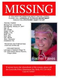 A flier posted on Facebook about Faires' disappearance.<br>(Facebook via Lewisville Texas Journal<br>)