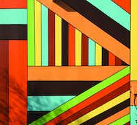 The work in Celina is a bright, geometric mural, inspired by shapes and colors the artist saw in the community.(Photo by Kevin Tedora)