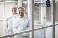 Kanzan Inoue, managing director of Lintec of America's Nano-Science and Technology Center (right), and Ray Baughman, director of the Alan G. MacDiarmid NanoTech Institute at UTD, stand in a clean room at the Lintec Nano-Science & Technology Center in Richardson. (Smiley N. Pool/The Dallas Morning News)