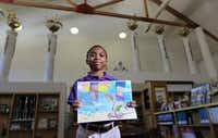 J.P. Starks Elementary fifth grader, Clayton Graves, an 11-year-old DISD student from South Dallas won an art contest designed to draw attention to pollution on Texas beaches. Photographed at J.P. Starks Elementary on April 18, 2012. (Kye R. Lee / The Dallas Morning News)(Staff Photographer)