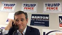 In this file photo, a video screen shot shows Sen. Ted Cruz volunteering at a phone bank Wednesday, October 5, 2016 in Fort Worth. (G.J. McCarthy/The Dallas Morning News)