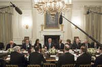 US President Donald Trump speaks during a meeting with airline industry executives in the State Dining Room of the White House in Washington, DC, February 9, 2017. (AFP PHOTO/SAUL LOEB)