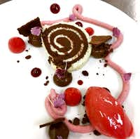 Raspberry and Chocolate Roulade by pastry chef Eric Cobb of Knife Dallas