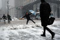 People make their way during a winter storm in New York on February 9, 2017. (Jewel Samad / AFP Images)(AFP/Getty Images)