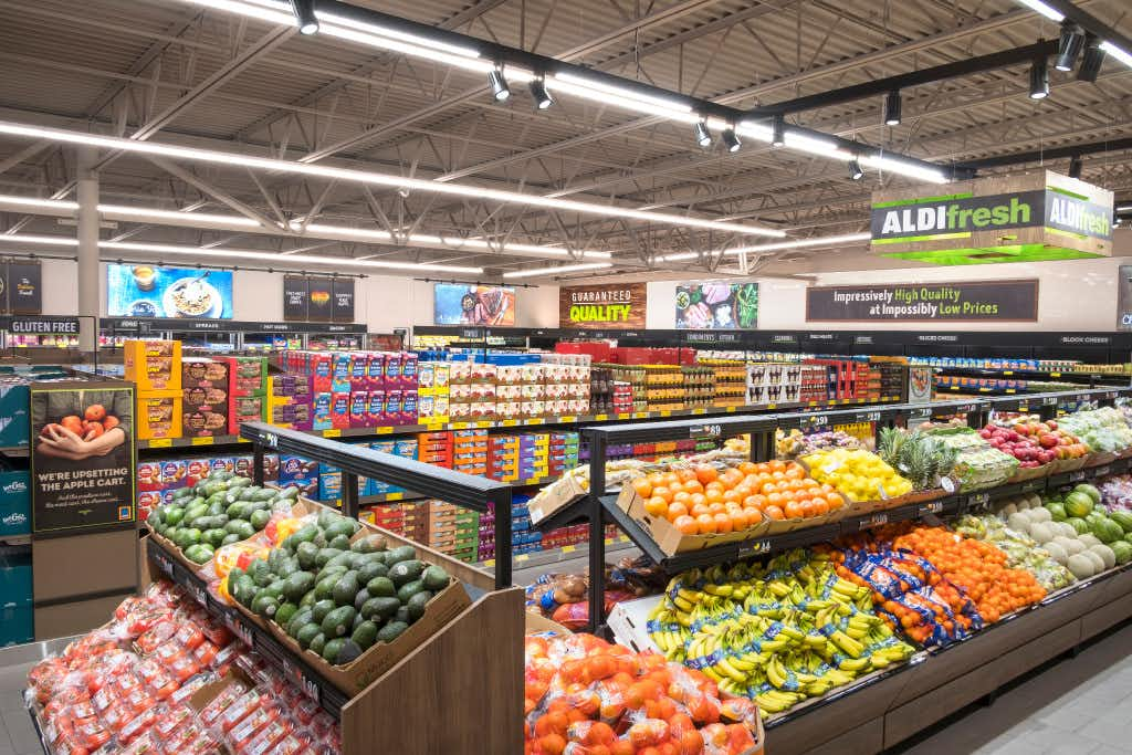 Aldi's larger produce section. The company said in February 2017 that it  plans to spend $1.6 billion to expand and remodel 1,300 stores by 2020.(Aldi)
