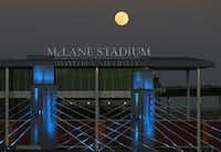 A full moon rises over the Brazos River near Baylor University's McLane Stadium and Interstate 35 bridge, Wednesday, Jan. 11, 2017, in Waco, Texas. (Robert Rogers/Waco Tribune-Herald via AP)(AP)