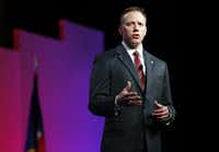 Texas Railroad Commissioner Ryan Sitton speaks to the crowd during the 2016 Texas Republican Convention at the Kay Bailey Hutchison Convention Center in Dallas, on Saturday, May 14, 2016. (Vernon Bryant/The Dallas Morning News)(Staff Photographer)