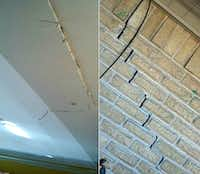 <br>(Cracks inside and outside Sara Jones' house next to LBJ. (Courtesy Valencia Jones Powell))