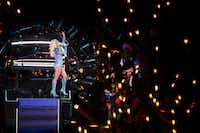 Lady Gaga performs during halftime of Super Bowl LI on Saturday, Feb. 4, 2017, in Houston. (Smiley N. Pool/The Dallas Morning News)