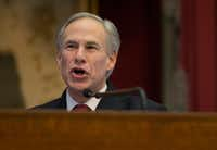 Texas Gov. Greg Abbott delivers his State of the State address to a joint session of the House and Senate, Tuesday, Jan. 31, 2017, at the Texas Capitol in Austin, Texas. (AP Photo/Stephen Spillman)