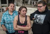 "<p><span style=""font-size: 1em; background-color: transparent;"">Angel Velazquez (center), with her mother and sister, spoke to reporters about how agents with U.S. Immigration and Customs Enforcement arrested her fiancé Hugo Baltazar Ramirez on Friday in Austin.</span></p>(Ricardo B. Brazziell/Austin American/Statesman)"
