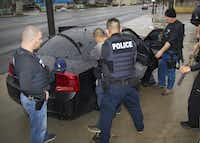 A photo taken by U.S. Immigration and Customs Enforcement shows a man being arrested this week on Feb. 7, 2017 during a targeted enforcement operation conducted by ICE aimed at immigration fugitives, re-entrants and at-large criminal aliens in Los Angeles. (Charles Reed/U.S. Immigration and Customs Enforcement via AP)