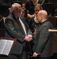Jaap Van Zweden, right, congratulates Christopher Rouse at the conclusion of the world premiere of his Symphony No. 5 with the Dallas Symphony Orchestra at the Morton H. Meyerson Symphony Center on February 10, 2017 in Dallas, Texas. (Robert W. Hart/Special Contributor)(Special Contributor)
