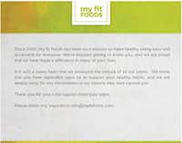 The message that My Fit Foods put up on its website Sunday, Feb. 12, 2017.