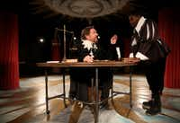 Bruce DuBose (left), plays Galileo, talking to his student, Andrea, played by Christopher Dontrell Piper, in <i>Galileo </i>at Undermain Theatre in Dallas.(Rose Baca/Staff Photographer)