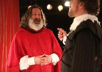 Jeremy Schwartz (left), plays a cardinal who will become Pope, considering the theories of Galileo, played by Bruce DuBose, that contradict the teachings of the church in <i>Galileo </i>at Undermain Theatre in Dallas.(Rose Baca/Staff Photographer)