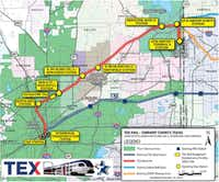 A map shows the proposed route for TEX Rail, a commuter rail line between Fort Worth and DFW International Airport.