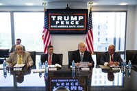 Donald Trump during a national security roundtable meeting at Trump Tower in New York in August. From left: former New York City Mayor Rudy Giuliani, retired Gen. Michael Flynn, Trump and retired Lt. Gen. Keith Kellogg.((DAMON WINTER/NYT))