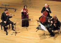 "The Cuarteto Casals performs Mozart's ""Hunt"" String Quartet, in B-flat major, K. 458, on Feb. 13, 2017, at SMU's Caruth Auditorium ((Photo: Scott Cantrell))"