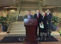Dallas City Council member Mark Clayton, Dallas County Judge Clay Jenkins, Dallas County Commissioner Theresa Daniel and Dallas Mayor Mike Rawlings announce the creation of the Dallas Area Partnership to End and Prevent Homelessness. (Staff photo)