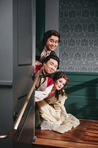 "Rosina (Megan Marino), Figaro (Joo Won Kang), and Count Almaviva (Andrew Stenson) make their escape, singing the trio  Zitti, zitti, piano, piano.  From the Fort Worth Opera's ""The Barber of Seville.""((File Photo/Dallas Morning News))"