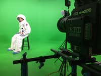 Colton Tapp prepares for a scene in front of a green screen in Evan Hara's film <i>The Boundary</i>.