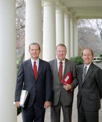 President Ronald Reagan's powerful troika is shown in 1981. From left: chief of staff Jim Baker, counselor Edwin Meese and deputy chief of staff Michael Deaver. (Reagan Presidential Library)
