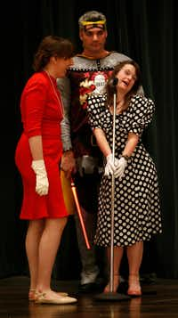"""From left: Leah Battalora, John Farley and Abby Munn rehearse """"City of Heroes,"""" an original play by Jesters, a theater troupe for adults with special needs, at Highland Park United Methodist Church in Dallas.((Jae S. Lee/Staff Photographer))"""