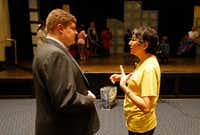 Director Lisa Schmidt talks with Michael Susens during a rehearsal at the church.((Jae S. Lee/Staff Photographer))