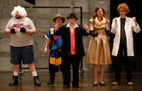 Jesters, a troupe of adult actors with special needs, including John Huff (far left) and Abigail Parton (second from right), rehearse for the show, which will be performed this weekend.((Jae S. Lee/Staff Photographer))