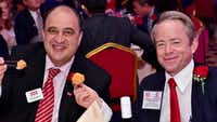 <p></p><p>Frisco Mayor Maher Maso and Dallas County Republican Party Chair Phillip Huffines enjoy shrimp balls at the Texas-Wenzhou banquet.</p>(Sam Hsu)