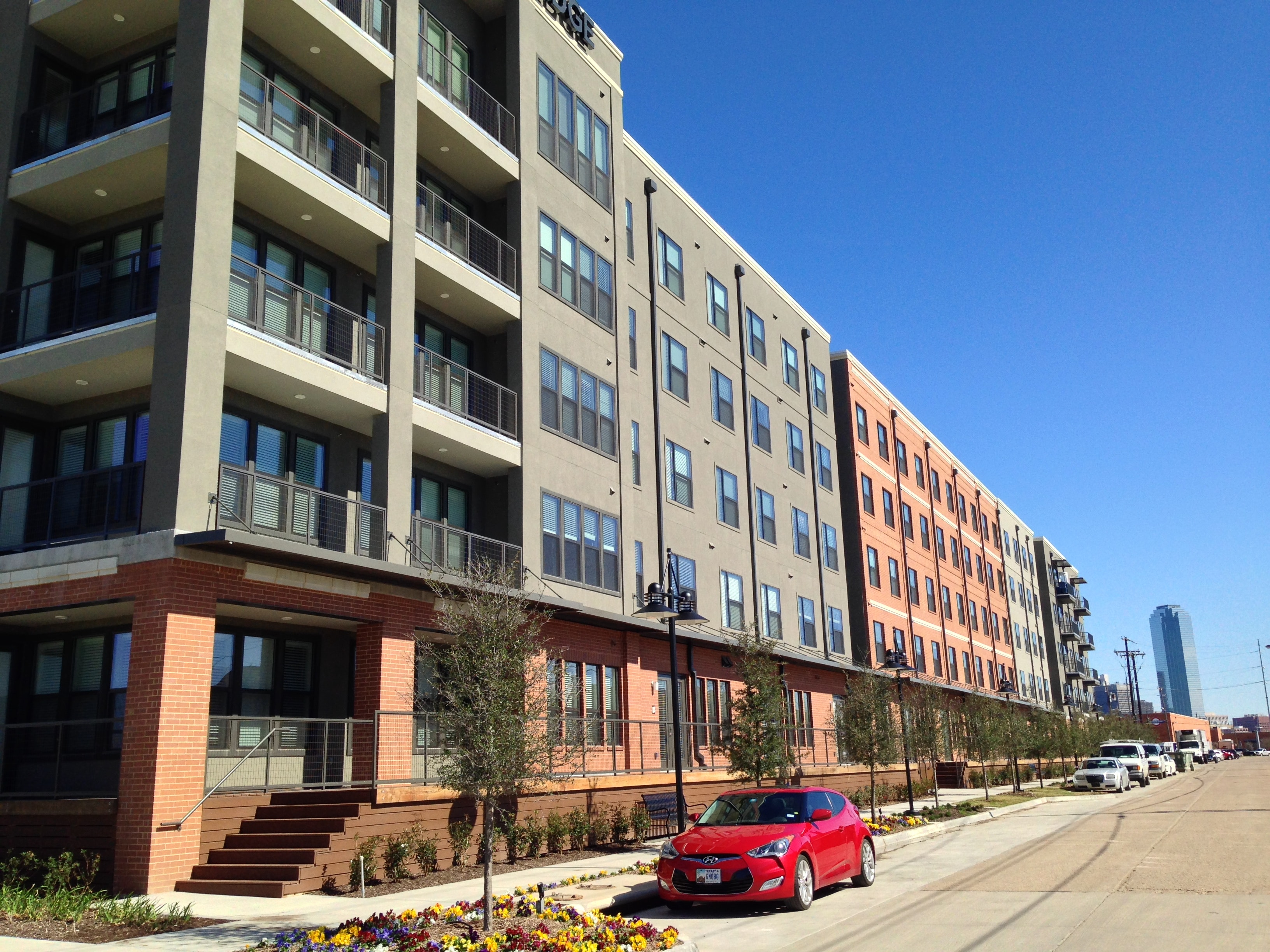 Dallas Design District Apartments renters rolling on the river in new apartment community in dallas