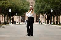 Brittany Gamlen stands outside the Texas State Capitol, where she's interning as a legislative aide to Republican state Rep. Cole Hefner. (Vernon Bryant/The Dallas Morning News)