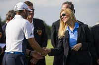 Irving Mayor Beth Van Duyne congratulated golfer Sergio Garcia after he won the AT&T Byron Nelson golf tournament last May. (2016 File Photo/Smiley N. Pool)