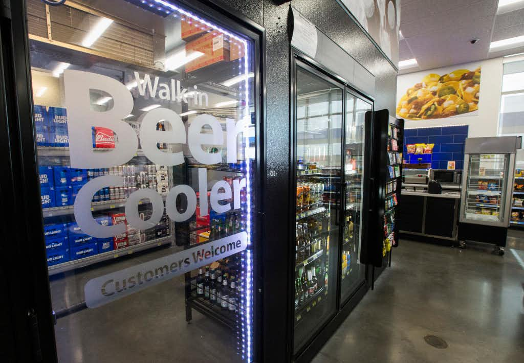 A walk-in beer cooler inside a new Walmart convenience store on Wednesday, February 8, 2017 on FM 1187 in Crowley, Texas. (Ashley Landis/The Dallas Morning News)Staff Photographer